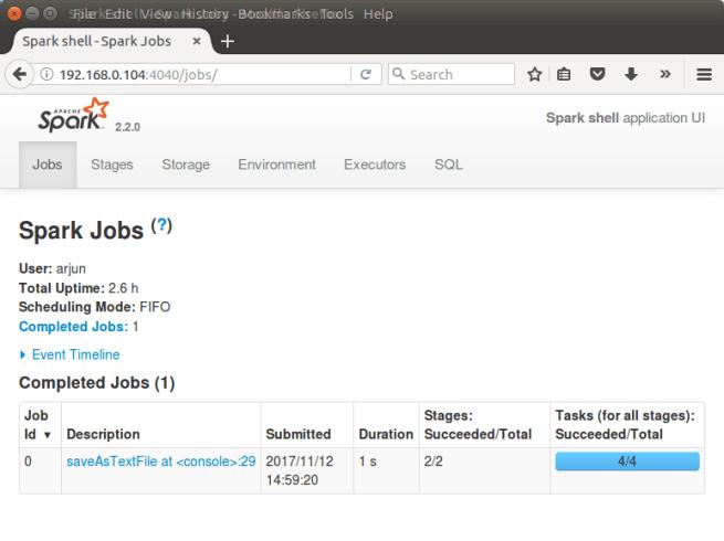 Scala Spark Shell - Web UI