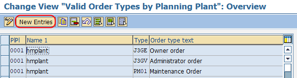 assign order types to planning plant in SAP
