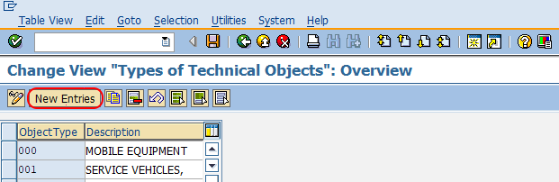 create types of technical object type in SAP