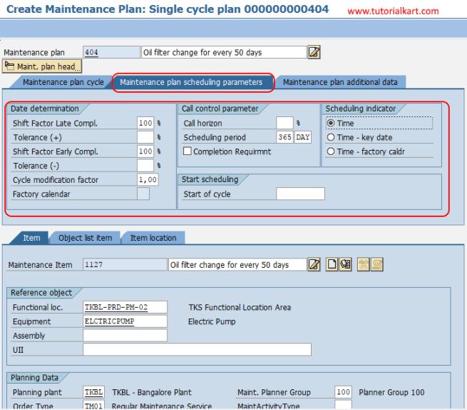 maintenance plan scheduling parameters