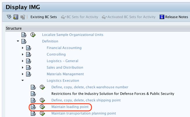 Maintain Loading Points IMG Menu Path