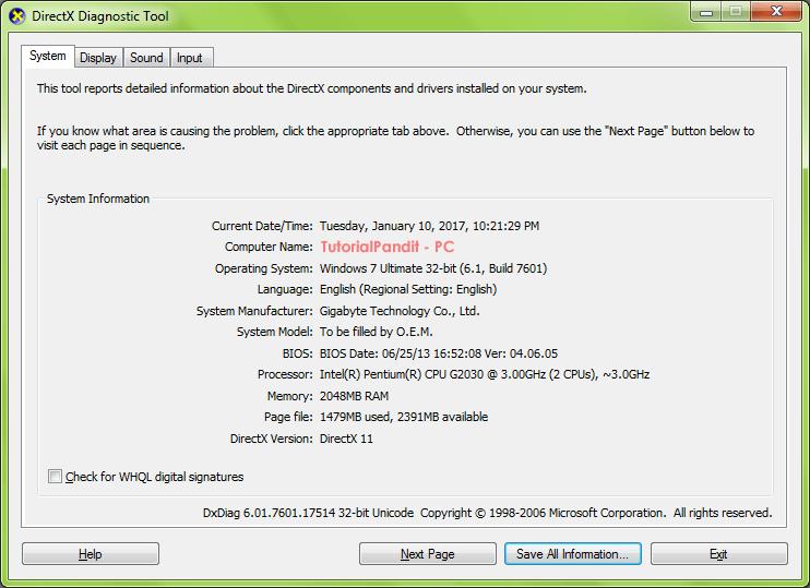 directX-diagnostic-tool