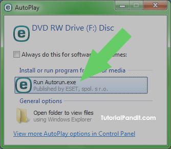Selecting Autorun in AutoPlay Options