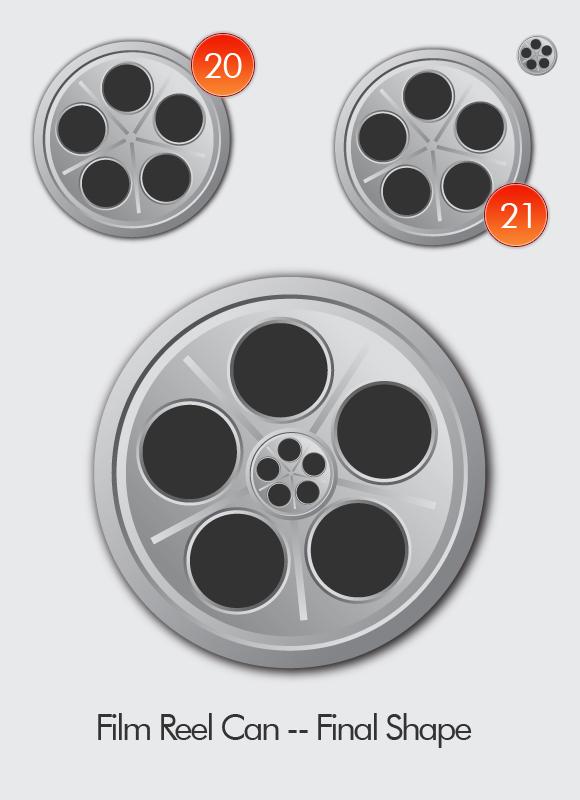 Film Can & Clapper Board vector in Adobe Illustrator CS5 - Step 09