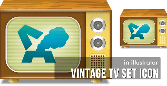Vintage TV Set Icon - Vector Tutorial