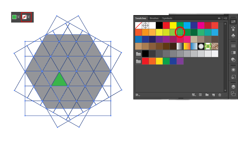color the triangles