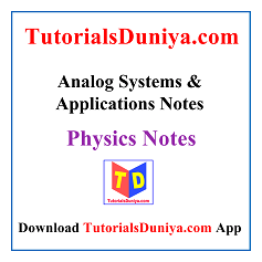 Analog Systems and Applications Notes PDF