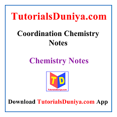 Coordination Chemistry Lecture Notes PDF