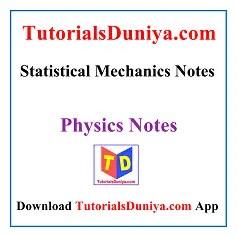 Statistical Mechanics Notes PDF