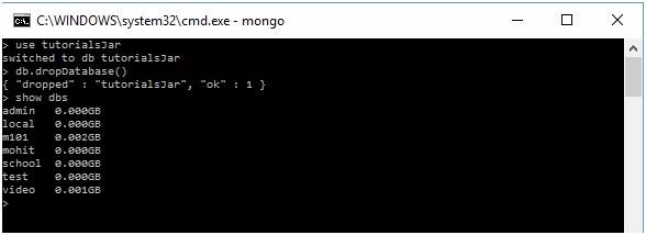 MongoDB create database & drop database command 2