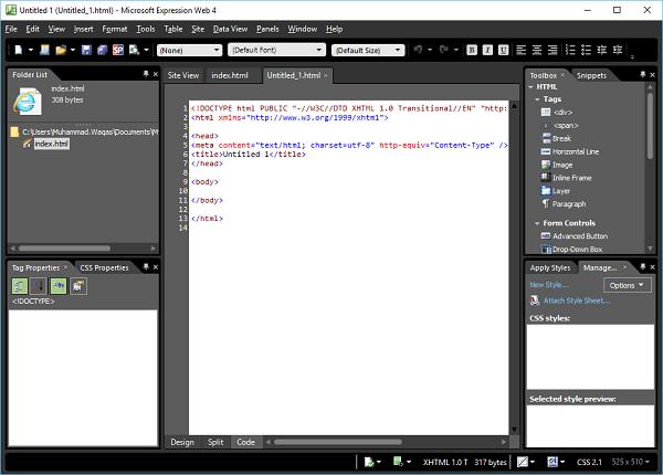 microsoft expression web blank