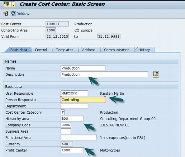 SAP CO Create Cost Center