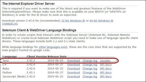 ie driver download