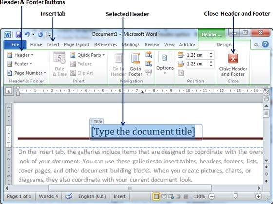 How-to Produce Footers and Headers in Microsoft Word