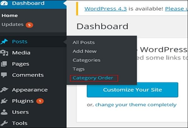 WordPress arrange category