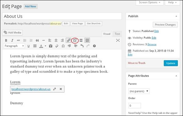 WordPress Delete Links