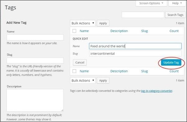 WordPress Edit Tags