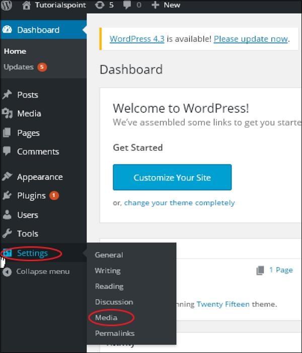 Wordpress Media Setting