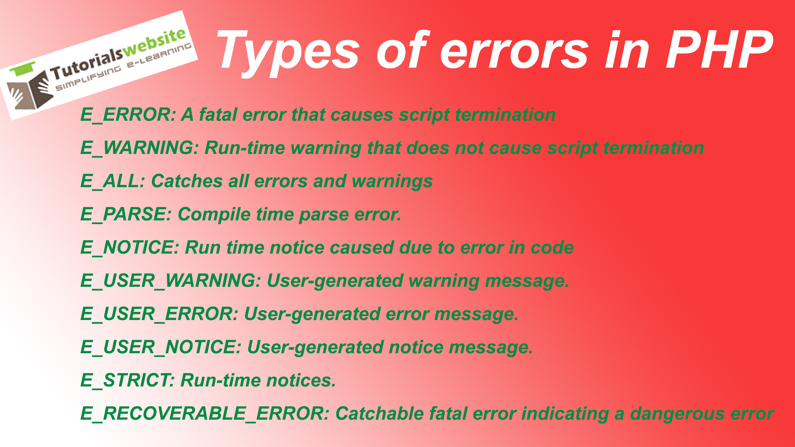 Different types of errors in php