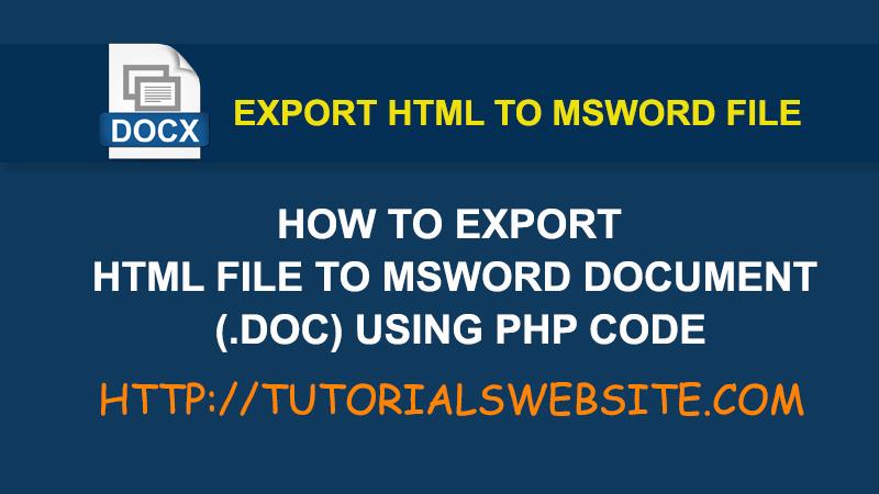 export-html-doc