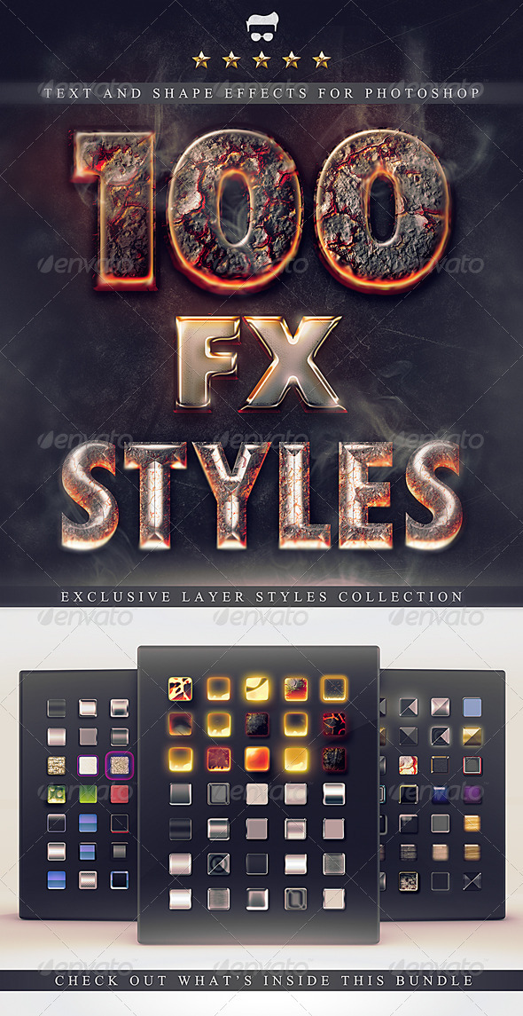 Pack 100 layer styles and fx photoshop