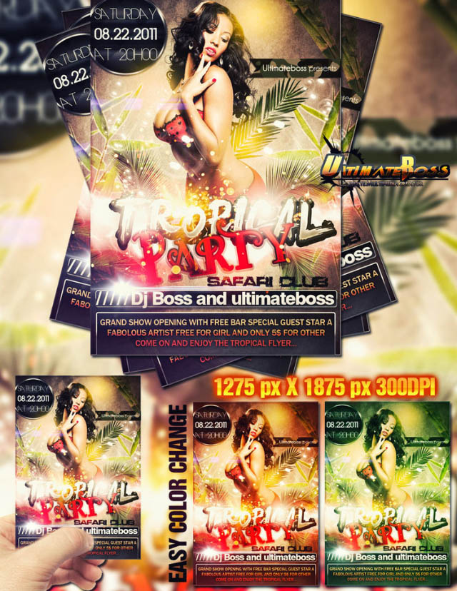Templates Photoshop - flyer tropical