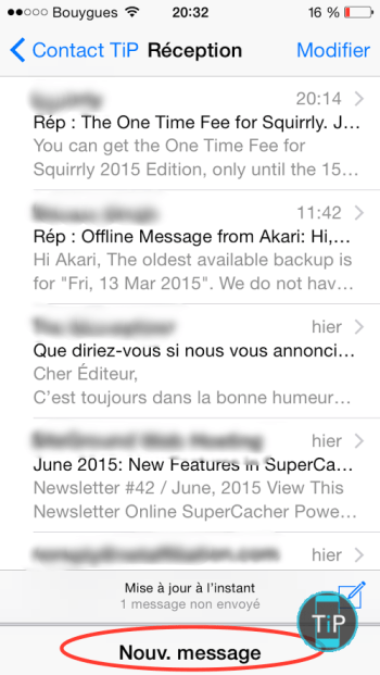 reduction fenêtre mail iphone