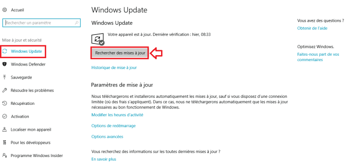 Désactiver les mises à jour automatique de Windows 10
