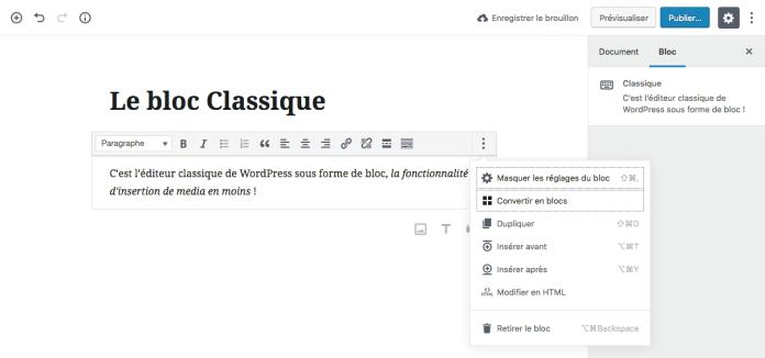 éditeur classique WordPress