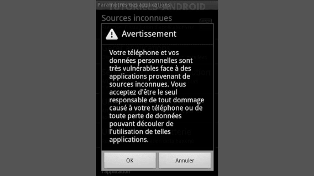 Accepter l'avertissement Sources inconnues Android Éclair/Froyo