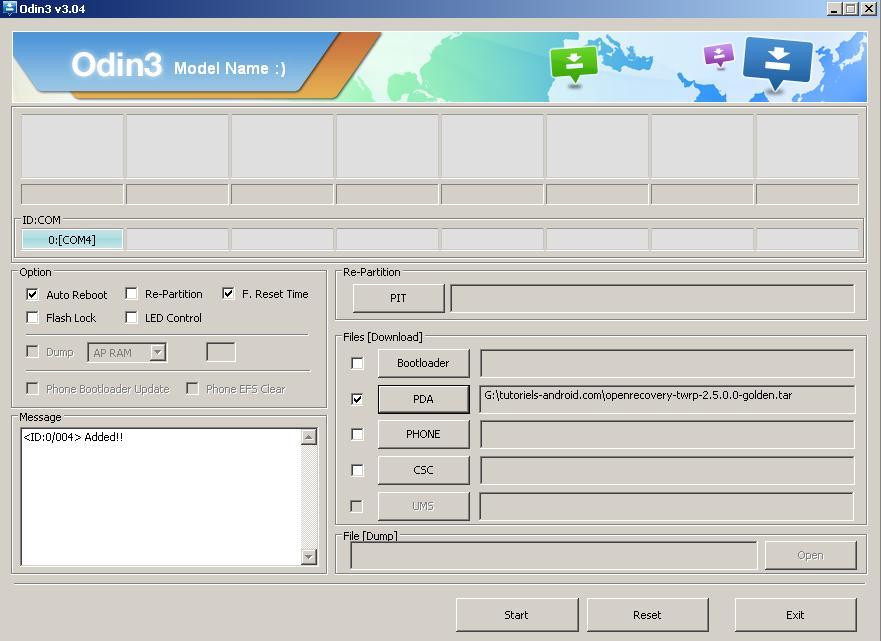 ODIN : flasher fichier TAR pour GT-I8190