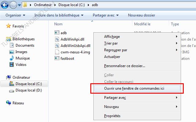 Ouvrir une fenêtre de commandes Windows