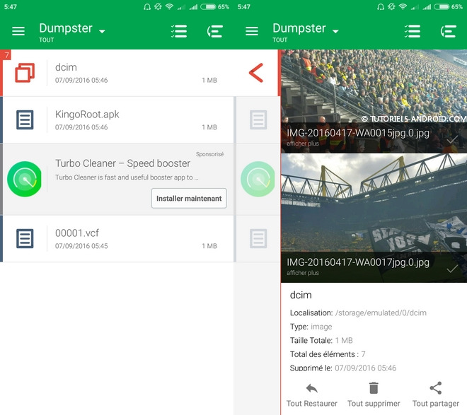 Dumpster Corbeille pour Android