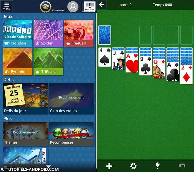 Captures d'écran : Microsoft Solitaire Android