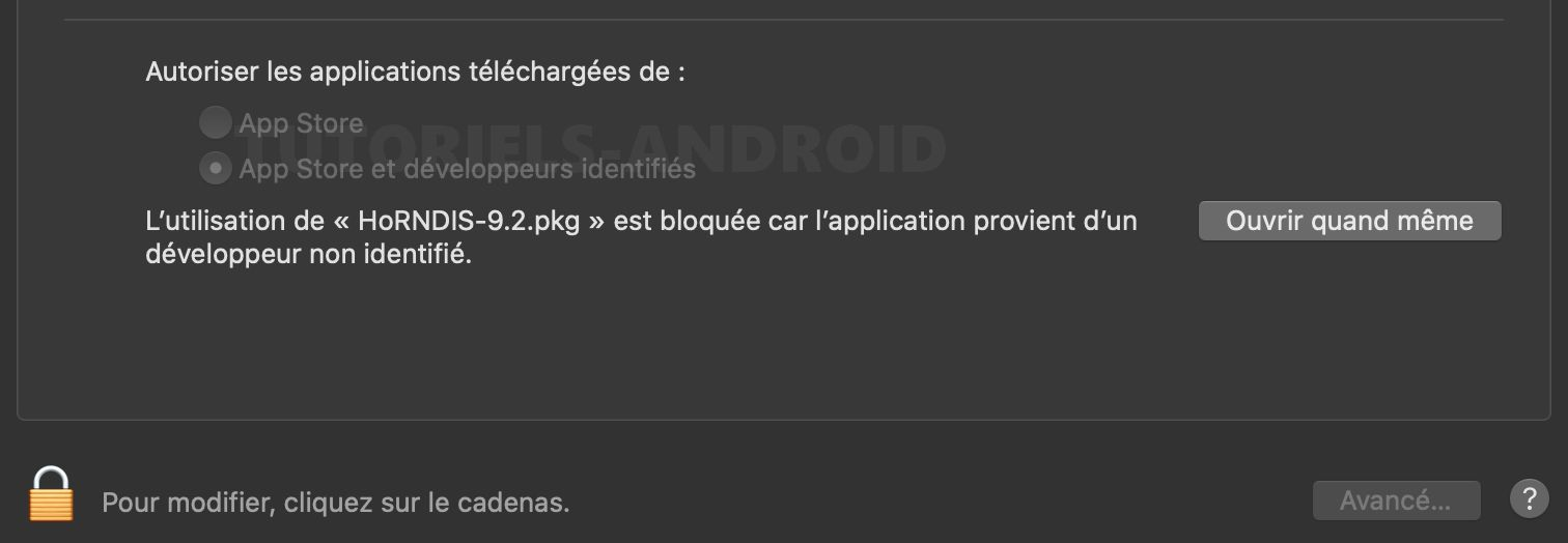 Installer application développeur non identifié MacOS
