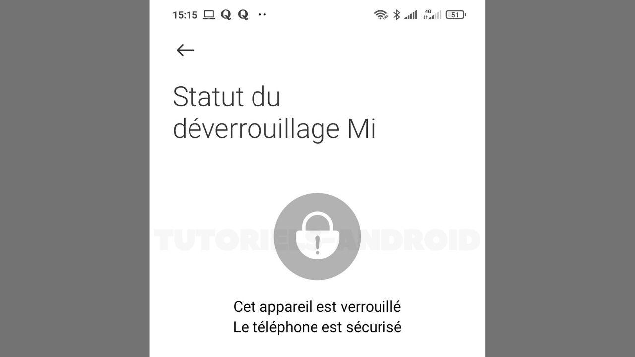 Statut Bootloader Xiaomi