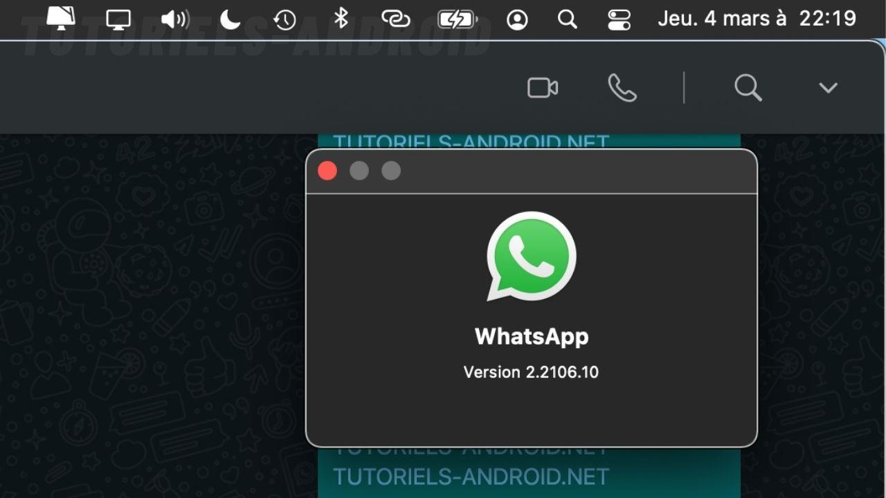 Vérifier la version de WhatsApp sur MacOS