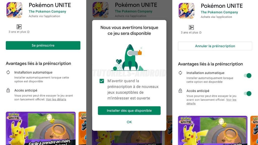 Android : préinscription à Pokémon UNITE