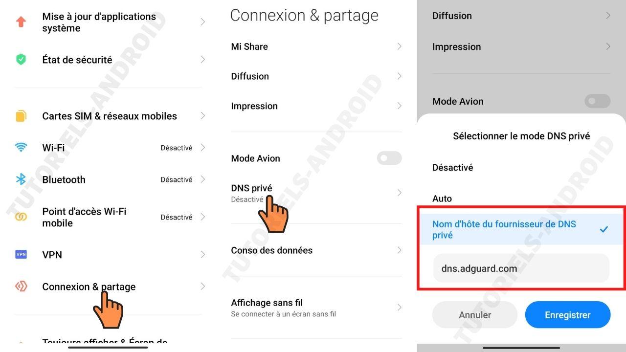 Modifier DNS privé Xiaomi