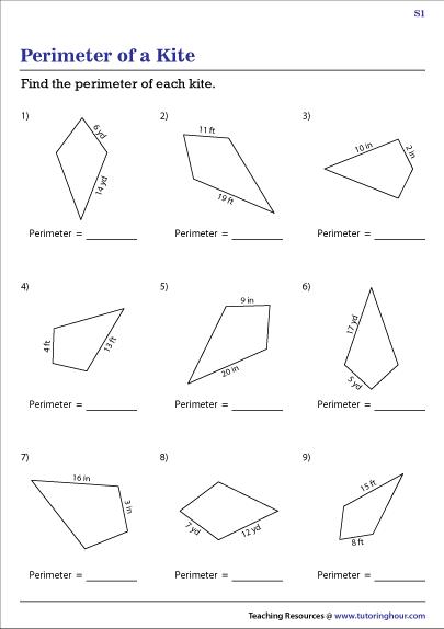 Perimeter of Kites Worksheets