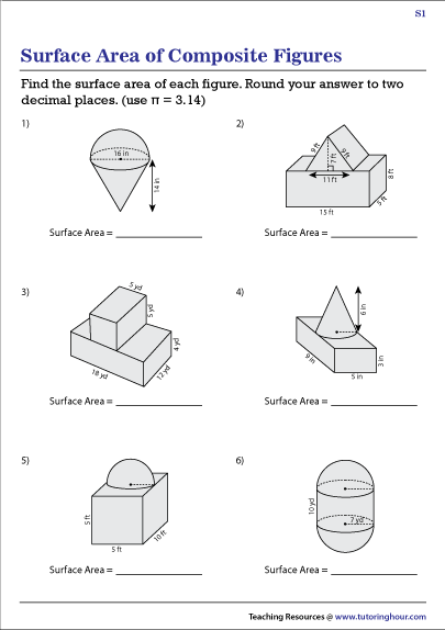 Surface Area of Composite Figures Worksheets