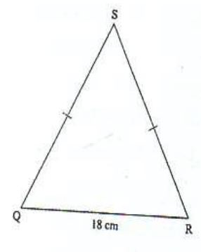 The perimeter of the isosceles triangle QRS shown below is