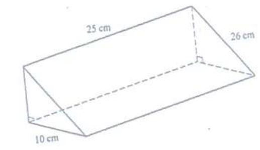 The figure drawn below is a right-angled triangular prism