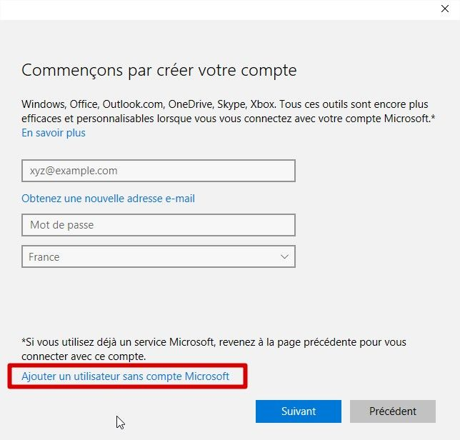 choix compte local windows 10