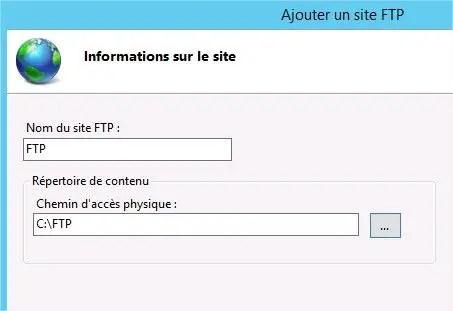 paramétrage ftp iis