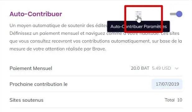 configuration du paramétrage auto-contributor sur le navigateur Brave