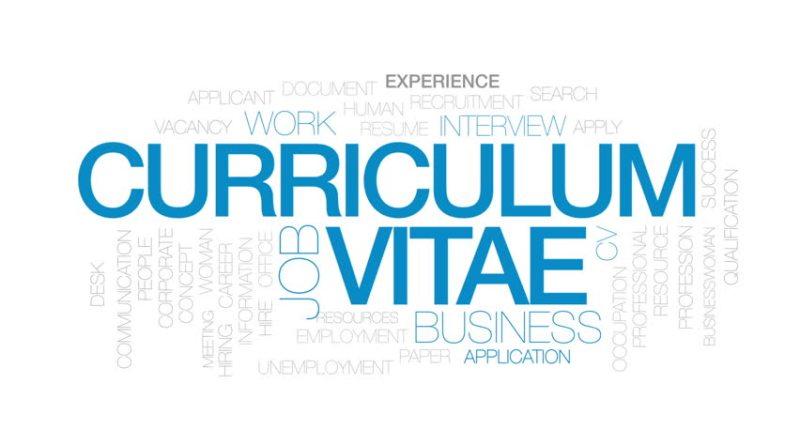 Arte en PSD de la palabra curriculum vitae CV letras de color azul, fondo blanco,