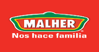 Logotipo de la empresa guatemalteca Malher con un fondo rojo