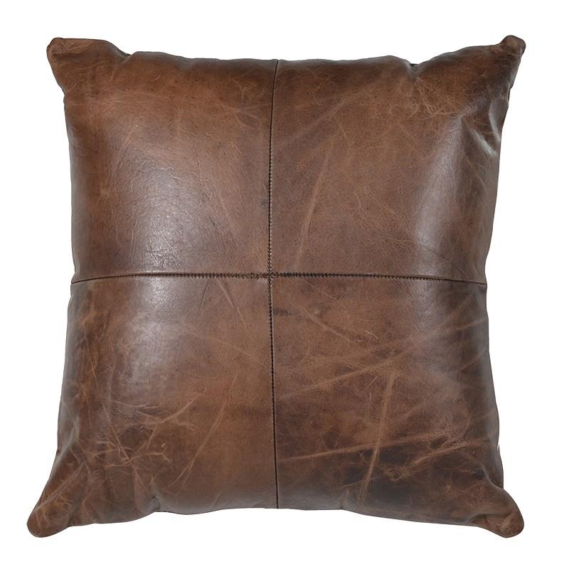 Dark Brown Leather Cushion Tutti Decor Ltd
