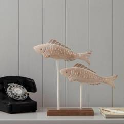 Beach Themed Kitchen Decor Average Cost To Remodel A Washed Wooden Fishes Ornament - Tutti Ltd